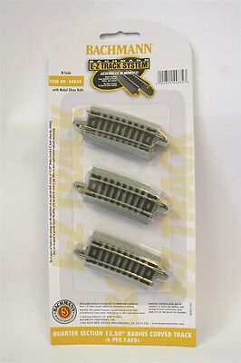 """44834 Bachmann N Scale E-Z QUARTER SECTION 15.50"""" RADIUS CURVED TRACK (6/card)"""