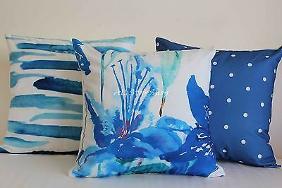 Art Decor Watercolour Sea Blue Home Cotton CUSHION COVERS Throw PILLOW CASE 18""