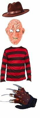 Freddy Krueger Latex Mask Glove Hat Jumper Burnt Man Halloween Fancy Dress