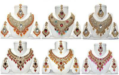 Wholesale Lot of 6 Different Charming Necklaces Indian Jewelry Sets FASHION EDH