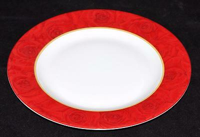 """Philippe Deshoulieres, Limoges, France, Red Ruby Roses, 8 5/8"""" Salad Plate"""