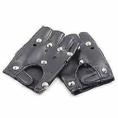 ** Studded Punk Gloves Goth Adult Fancy Dress New ** Ladies Mens