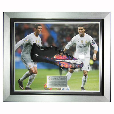 Signed Cristiano Ronaldo Deluxe Framed Black CR7 Boot - Real Madrid