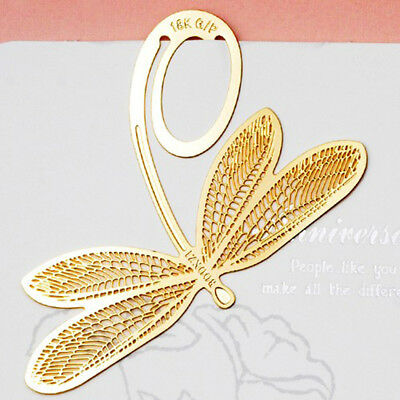 Gold Dragonfly Bookmark Book Label Reading Marker Stationery Page Metal Clip