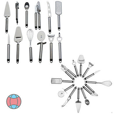 Gadget Set with Hanging Rack / Holder & 12 Peice Kitchen Utensil Stainless Steel