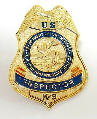 Fish and Wildlife Service Inspector K-9 Mini Badge Lapel Pin