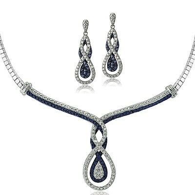 0.50ct Blue & White Diamond Intertwining Infinity Necklace and Earrings in Brass
