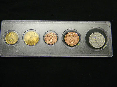 Early WWII Nazi Germany Third Reich Coins Set:  All with Swastika + Coin Holder