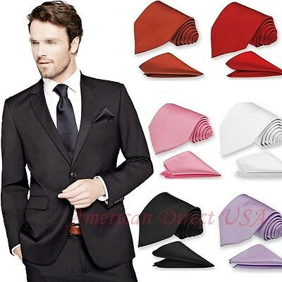 Men Solid Necktie & and Pocket Square Hankie Set Formal Wedding Prom Party Tie