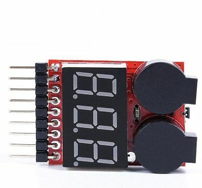 5x RC Lipo Battery Indicator Checker Tester LED Low Voltage Alarm 1S-8S Buzzer