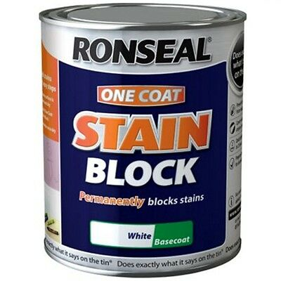Ronseal One Coat Stain Block Paint White for Walls and Ceilings - 2.5 Litre