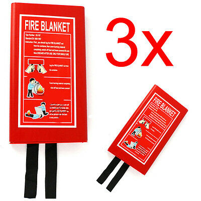 3 X Fire Blanket Home Safety Large Quick Release Protection 1M X 1M In Case Work