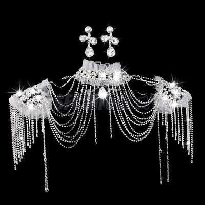 Crystal Rhinestone Wedding Bridal Jewelry Collar Choker Necklace Body Chain