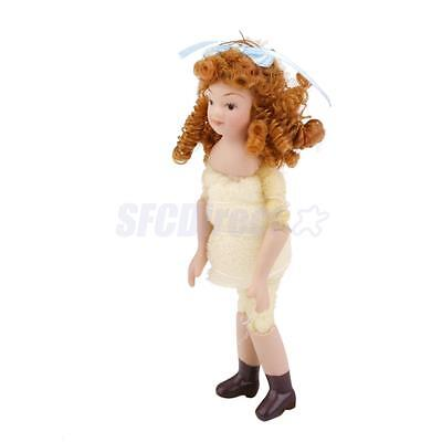 Dollhouse Miniature People Figure Porcelain Girl Doll to Dress w/ Curly Hair