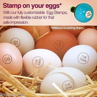 EGG MARKING RUBBER STAMP AND INK PAD 14MM Custom Made Red Brown or  Black  Ink