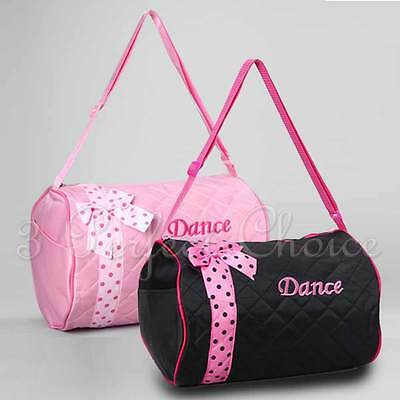 Girls Dance Duffle Bag Kids Quilted Ribbon Polka Dots Light Pink Black Totes Bag