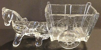 Cute Clear Glass Donkey And Cart Candy Dish