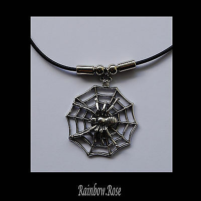 Choker #340 Pewter SPIDER & WEB (38mm wide) Rubber Silicon Cord Necklace unisex