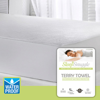 Terry Towel Waterproof Fitted Mattress Protector Cover - Extra Deep - All Sizes