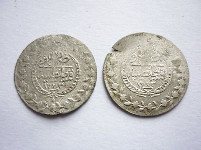 Antique Lot 2 MAHMUD II Silver Coins Ottoman Empire 1223