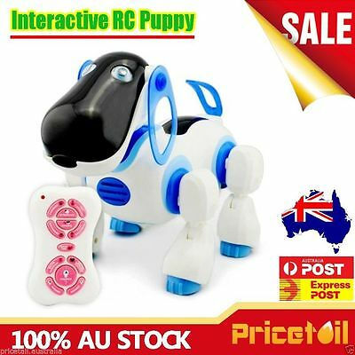 Blue RC Interactive Remote Control Pet Robot Dog Puppy Kids Educational Toy Gift