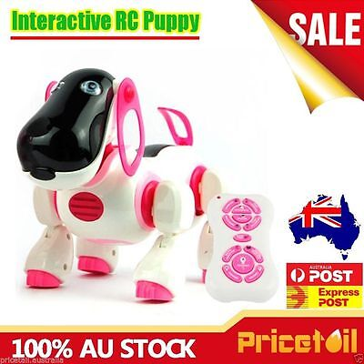 Pink RC Interactive Remote Control Pet Robot Dog Puppy Kids Educational Toy Gift