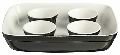 Mason Cash 5 Piece Baking Set Roaster Dish 4 Ramekins Black Oven Dishes Bakeware