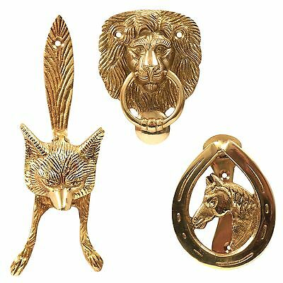 Quality Animal Head Solid Polished Brass Door Knockers & Fixings Vintage/Antique