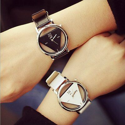 Fashion Womens Mens Stainless Steel Leather Band Quartz Analog Sport Wrist Watch