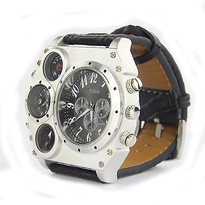 Luxury SPORT Army Military Mens Stainless Steel Leather Strap Quartz Wrist Watch