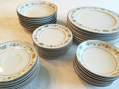Fine China Dish Set For 8 - Trimmed In Platinum - Carlton