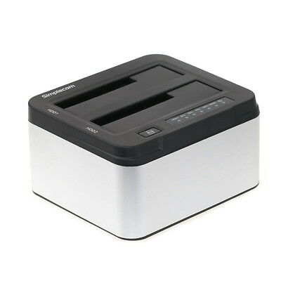 "USB 3.0 to DUAL Bay SATA Hard Drive Dock 3.5"" 2.5"" HDD Docking Station Clone"
