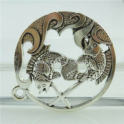 14898 2PCS Alloy Antique Silver Large Fish Cross Round Ring Pendant Fashion