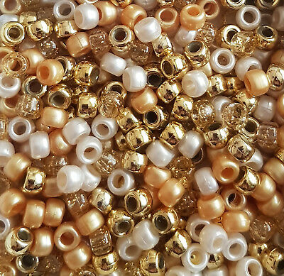 100 All That Gitters Pony Beads Mix White Gold Metallic Pearl Glitter Hair Dummy
