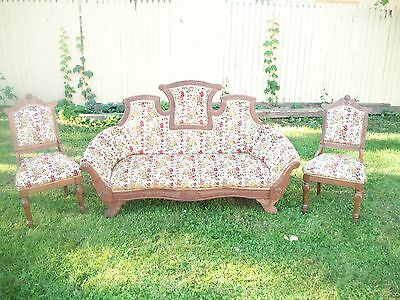 Antique French Louis XVI Settee With Two Matching Side Chairs