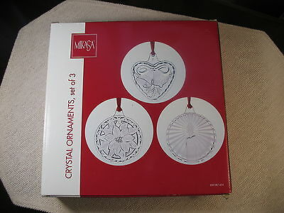 SET OF 3 MIKASA CRYSTAL ORNAMENTS – NEW IN BOX