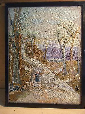 Framed Vintage Needlepoint Picture - Hand Sewn - c. 1937