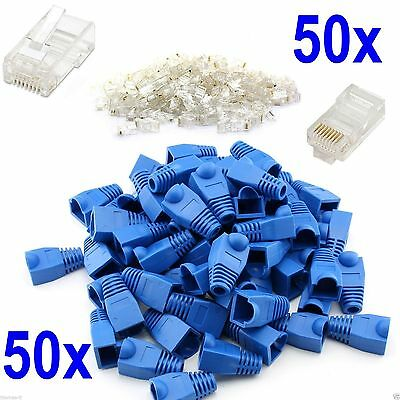 50x RJ45 Ethernet Netowrk LAN Cat6 6e Cable End Crimp Connectors And Cover Boots