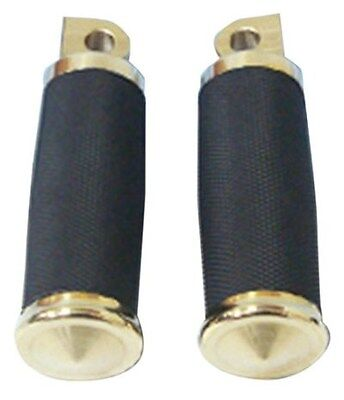 Solid Brass Footrest Pair with Knurled Rubber Covers, Male mount @ most Harleys