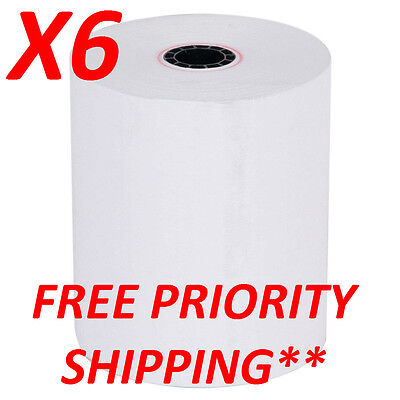 (x6) 3 1/8'' (80mm) x 230' THERMAL POS RECEIPT PAPER ROLLS USA FREE SHIPPING