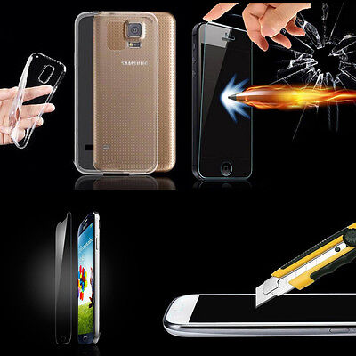 Ultra Thin Transparent Clear Soft TPU Case Skin Cover + Tempered Glass For Phone