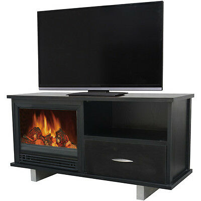 """Adjustable Flame Media 1250W Electric Fireplace for TVs Stand up to 48"""" Black"""