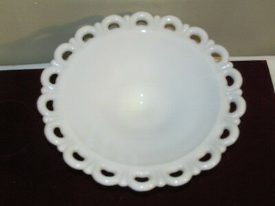 Antique Anchor Hocking Old Colony Lace Edge Milk Glass Pedestal Fruit Bowl VFC