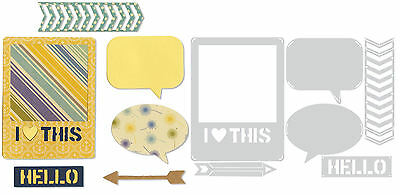 SIZZIX dies fins I HEART THIS polaroid Big shot, cuttlebug scrapbooking cartes