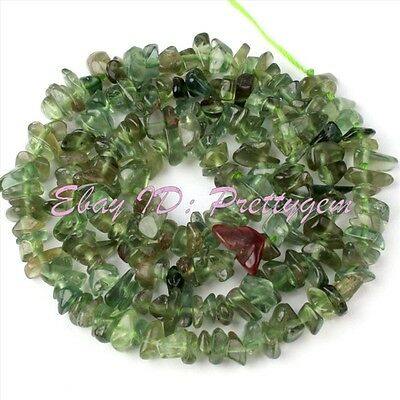 4-6mm Natural Freeform Shape Green Apatite Chips Gemstone Loose Beads Strand 15""