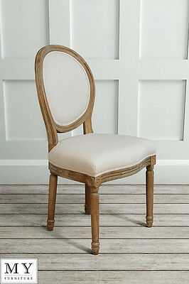 My Furniture  French Louis Style shabby chic OAK Oval  Dining Occasional Chair