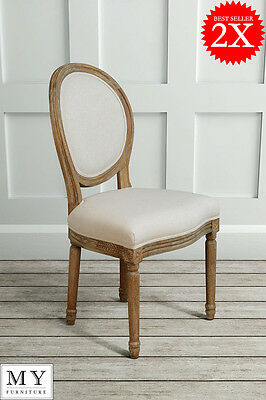 My Furniture 2x French Louis Style shabby chic OAK Oval  Dining Occasional Chair
