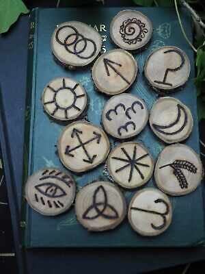 13 Hand-crafted Wooden Witches Runes - with Bag & Information sheet - Pagan