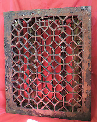 Antique Late 1800's Cast Iron Victorian Heating Grate Honeycomb Design 17 X 14