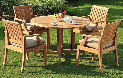 "Lagos A-Grade Teak 5 pc Dining 48"" Round Table 4 Arm Chair Set Outdoor New"